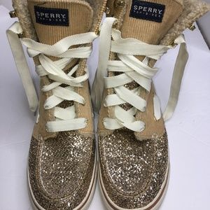 Sperry Top-Sider Acklins Tan Corduroy Gold Sparkle